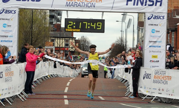 Manchester Marathon 2015  finish mens winner Paul Martelletti
