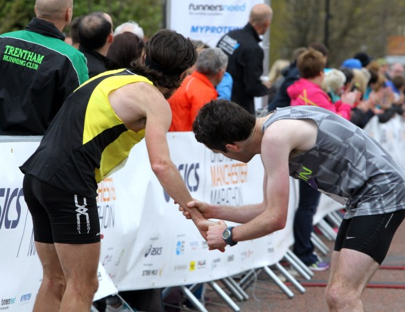 Manchester Marathon 2015  finish mens winner Paul Martelletti and second