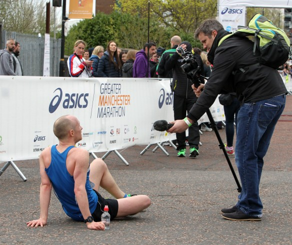 Manchester Marathon 2015  finish what a time for an interview!