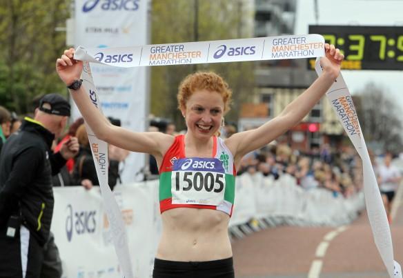 Manchester Marathon 2015  finish womens winner Georgie Bruinvels