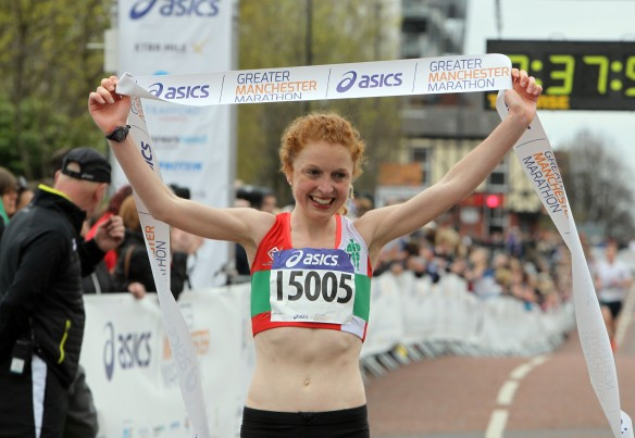 Manchester Marathon 2015  finish womens winner Georgie Bruinvels
