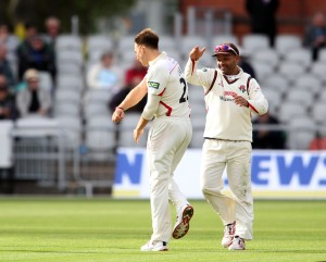 LANCASHIRE COUNTY CRICKET CLUB Emirates Old Trafford LV= County Championship LANCS V GLOUCESTERSHIRE 10/05/15 Day1 Kyle Jarvis takes the wicket of Jones