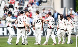 LANCASHIRE COUNTY CRICKET CLUB Emirates Old Trafford LV= County Championship LANCS V GLOUCESTERSHIRE 11/05/15 Day2 Kyle Jarvis has Payne caught and bowled