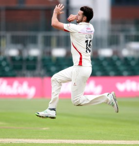 LANCASHIRE COUNTY CRICKET CLUB Emirates Old Trafford LV= County Championship LANCS V GLOUCESTERSHIRE 10/05/15 Day1 Jordan Clark bowling