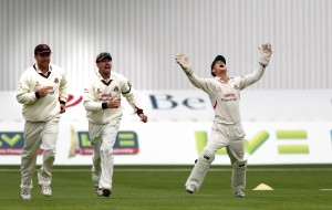LANCASHIRE COUNTY CRICKET CLUB Emirates Old Trafford LV= County Championship LANCS V GLOUCESTERSHIRE 10/05/15 Day1 Jordan Clark takes the wicket of Tavare c Alex Davies