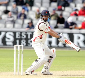 LANCASHIRE COUNTY CRICKET CLUB Emirates Old Trafford LV= County Championship LANCS V GLOUCESTERSHIRE 11/05/15 Day2 Paul Horton batting his way to a century 100