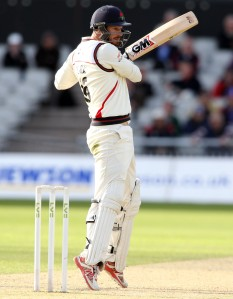 LANCASHIRE COUNTY CRICKET CLUB Emirates Old Trafford LV= County Championship LANCS V GLOUCESTERSHIRE 11/05/15 Day2 Jordan Clark batting