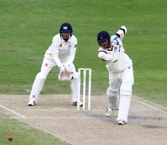 LANCASHIRE COUNTY CRICKET CLUB Emirates Old Trafford LV= County Championship LANCS V GLOUCESTERSHIRE 12/05/15 Day3 Nathan Buck batting