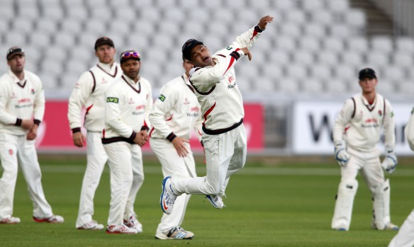 LANCASHIRE COUNTY CRICKET CLUB Emirates Old Trafford LV= County Championship LANCS V GLOUCESTERSHIRE 12/05/15 Day3 Alviro Petersen leaps for the ball