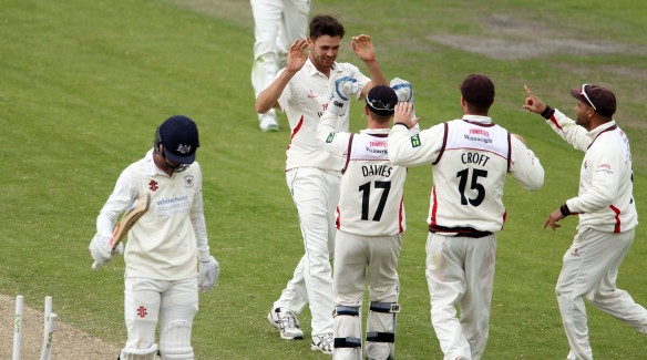 LANCASHIRE COUNTY CRICKET CLUB Emirates Old Trafford LV= County Championship LANCS V GLOUCESTERSHIRE 12/05/15 Day3 Nathan Buck bowls Tavare