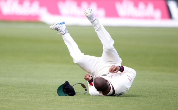 LANCASHIRE COUNTY CRICKET CLUB Emirates Old Trafford LV= County Championship LANCS V GLOUCESTERSHIRE 13/05/15 Day4 Alviro Petersen takes the catch to dismiss Jones