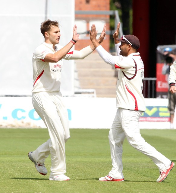 LANCASHIRE COUNTY CRICKET CLUB Emirates Old Trafford LV= County Championship LANCS V GLOUCESTERSHIRE 13/05/15 Day4 Marshall is bowled by Kyle Jarvis