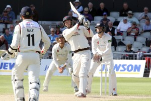 LANCASHIRE COUNTY CRICKET CLUB Emirates Old Trafford LV= County Championship LANCS V GLOUCESTERSHIRE 13/05/15 Day4 Jordan Clark hits a six