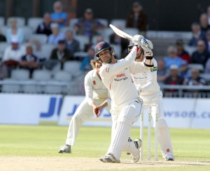LANCASHIRE COUNTY CRICKET CLUB Emirates Old Trafford LV= County Championship LANCS V GLOUCESTERSHIRE 13/05/15 Day4 Nathan Buck  hits a six