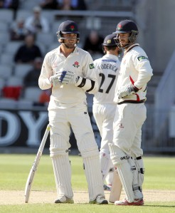 LANCASHIRE COUNTY CRICKET CLUB Emirates Old Trafford LV= County Championship LANCS V GLOUCESTERSHIRE 13/05/15 Day4 Jordan Clark and Nathan Buck