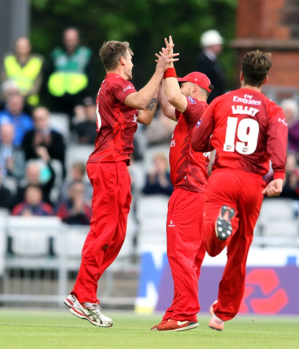 LANCASHIRE COUNTY CRICKET CLUB Emirates Old Trafford NatWest t20 Blast, North Group:  Lancashire Lightning v Leicestershire Foxes 15/05/15 Tom Bailey celebratesMJ Cosgrove* c †Davies b Bailey