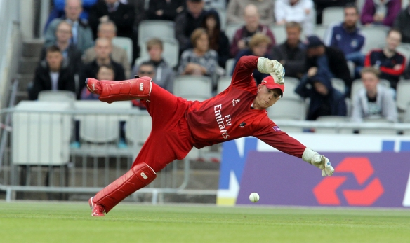 LANCASHIRE COUNTY CRICKET CLUB Emirates Old Trafford NatWest t20 Blast, North Group:  Lancashire Lightning v Leicestershire Foxes 15/05/15 Alex Davies dives for a stop