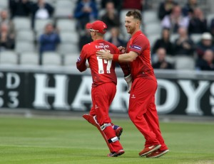 LANCASHIRE COUNTY CRICKET CLUB Emirates Old Trafford NatWest t20 Blast, North Group:  Lancashire Lightning v Leicestershire Foxes 15/05/15 lCroft celebrates eicsEJH Eckersleyc Brown b Croft