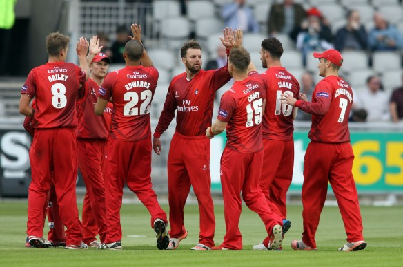 LANCASHIRE COUNTY CRICKET CLUB Emirates Old Trafford NatWest t20 Blast, North Group:  Lancashire Lightning v Leicestershire Foxes 15/05/15 lCroft celebrates eicsEJH Eckersley c Brown b Croft