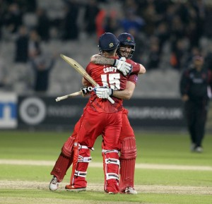 LANCASHIRE COUNTY CRICKET CLUB Emirates Old Trafford NatWest t20 Blast, North Group:  Lancashire Lightning v Leicestershire Foxes 15/05/15 Steven Croft 70 not out wins the game for Lancashire