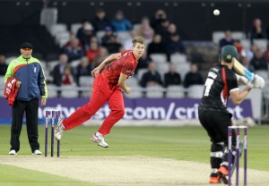LANCASHIRE COUNTY CRICKET CLUB Emirates Old Trafford NatWest t20 Blast, North Group:  Lancashire Lightning v Leicestershire Foxes 15/05/15 Tom Bailey bowling