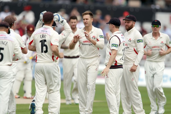 LANCASHIRE COUNTY CRICKET CLUB Emirates Old Trafford Lancashire v Northamptonshire LV= County Championship Division Two, 29/06/15 Kyle Jarvis takes Coetzer LBW