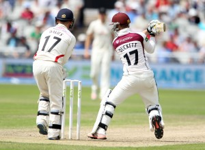 LANCASHIRE COUNTY CRICKET CLUB Emirates Old Trafford Lancashire v Northamptonshire LV= County Championship Division Two, 29/06/15 Duckett on his way to 100