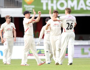 LANCASHIRE COUNTY CRICKET CLUB Emirates Old Trafford Lancashire v Northamptonshire LV= County Championship Division Two, 29/06/15 James Faulkner takes his third  Levic †Davies b Faulkner