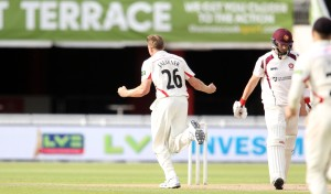 LANCASHIRE COUNTY CRICKET CLUB Emirates Old Trafford Lancashire v Northamptonshire LV= County Championship Division Two, 29/06/15 James Faulkner takes his forth  Levic †Davies b Faulkner
