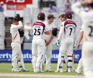 LANCASHIRE COUNTY CRICKET CLUB Emirates Old Trafford Lancashire v Northamptonshire LV= County Championship Division Two, 29/06/15 Steven Croft inspects his helmet after being hit