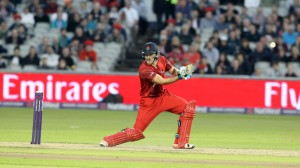 LANCASHIRE COUNTY CRICKET CLUB Emirates Old Trafford Lancashire Lightning v Birmingham Bears Nat West t20 Blast 26/06/15 Liam Livingstone batting