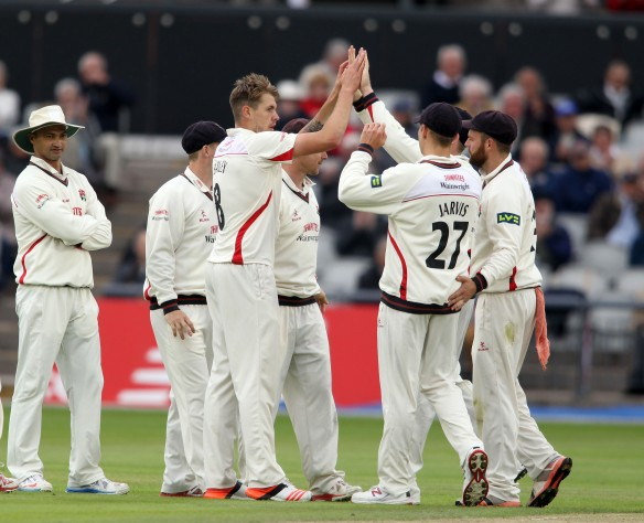 LANCASHIRE COUNTY CRICKET CLUB Emirates Old Trafford Lancashire v Leicestershire LV= County Championship Division Two, 14/06/15 Tom Bailey takes his first wicket