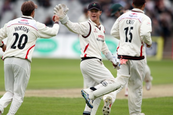 LANCASHIRE COUNTY CRICKET CLUB Emirates Old Trafford Lancashire v Leicestershire LV= County Championship Division Two, 14/06/15 Alex Davies takes the catch for Tom Bailey second wicket