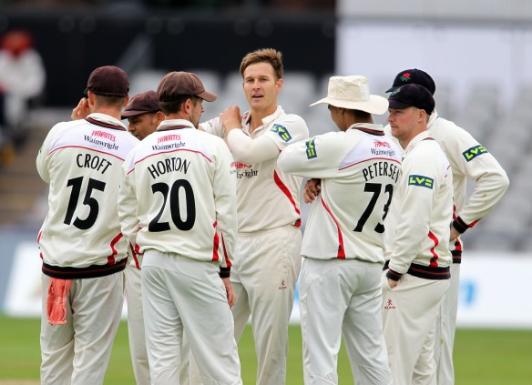 LANCASHIRE COUNTY CRICKET CLUB Emirates Old Trafford Lancashire v Leicestershire LV= County Championship Division Two, 14/06/15 Kyle Jarvis takes his second wicket