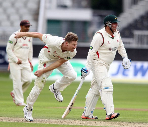 LANCASHIRE COUNTY CRICKET CLUB Emirates Old Trafford Lancashire v Leicestershire LV= County Championship Division Two, 14/06/15 James Faulkner bowling
