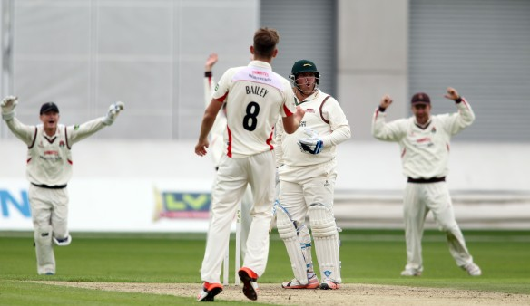 LANCASHIRE COUNTY CRICKET CLUB Emirates Old Trafford Lancashire v Leicestershire LV= County Championship Division Two, 14/06/15 Tom Bailey gets Cosgrove LBW