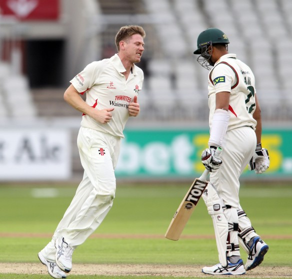 LANCASHIRE COUNTY CRICKET CLUB Emirates Old Trafford Lancashire v Leicestershire LV= County Championship Division Two, 14/06/15 JP Faulkner hat-trick, BA Raine (42.6), JKH Naik (44.1) and CE Shreck (44.2). wicket 2