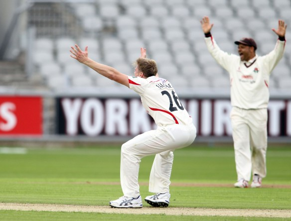 LANCASHIRE COUNTY CRICKET CLUB Emirates Old Trafford Lancashire v Leicestershire LV= County Championship Division Two, 14/06/15 JP Faulkner hat-trick, BA Raine (42.6), JKH Naik (44.1) and CE Shreck (44.2). wicket 3
