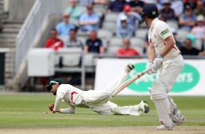 LANCASHIRE COUNTY CRICKET CLUB Emirates Old Trafford Lancashire v Leicestershire LV= County Championship Division Two, 15/06/15 Paul Horton is caught by Agathangalou on 54