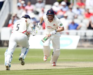 LANCASHIRE COUNTY CRICKET CLUB Emirates Old Trafford Lancashire v Leicestershire LV= County Championship Division Two, 16/06/15 James Faulkner batting