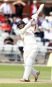 LANCASHIRE COUNTY CRICKET CLUB Emirates Old Trafford Lancashire v Leicestershire LV= County Championship Division Two, 16/06/15 Arron Lilley on his way to 50