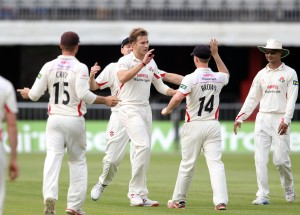 LANCASHIRE COUNTY CRICKET CLUB Emirates Old Trafford Lancashire v Leicestershire LV= County Championship Division Two, 16/06/15 Kyle Jarvis bowls Robson