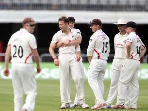 LANCASHIRE COUNTY CRICKET CLUB Emirates Old Trafford Lancashire v Leicestershire LV= County Championship Division Two, 16/06/15 Kyle Jarvis bowling dismisses Robson