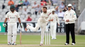 LANCASHIRE COUNTY CRICKET CLUB Emirates Old Trafford Lancashire v Leicestershire LV= County Championship Division Two, 16/06/15 Arron Lilley bowling