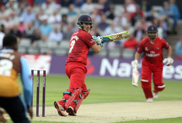 LANCASHIRE COUNTY CRICKET CLUB Emirates Old Trafford Lancashire Lightning v Derbyshire  Nat West t20 Blast 12/06/15 Liam Livingstone batting