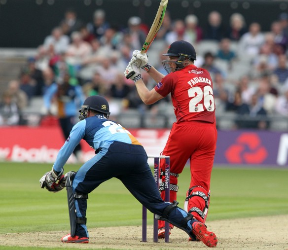 LANCASHIRE COUNTY CRICKET CLUB Emirates Old Trafford Lancashire Lightning v Derbyshire  Nat West t20 Blast 12/06/15 James Faulkner batting