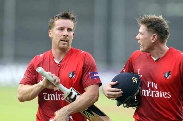 LANCASHIRE COUNTY CRICKET CLUB Emirates Old Trafford Lancashire Lightning v Derbyshire  Nat West t20 Blast 12/06/15 Steven Croft and James Faulkner batting