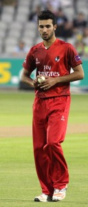 LANCASHIRE COUNTY CRICKET CLUB Emirates Old Trafford Lancashire Lightning v Derbyshire  Nat West t20 Blast 12/06/15 Saqib Mahmood bowling