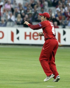 LANCASHIRE COUNTY CRICKET CLUB Emirates Old Trafford Lancashire Lightning v Derbyshire  Nat West t20 Blast 12/06/15 Stephen Parry takes the catch