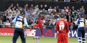 LANCASHIRE COUNTY CRICKET CLUB Emirates Old Trafford Lancashire Lightning v Derbyshire  Nat West t20 Blast 12/06/15 Arron Lilley takes the first bof two catches on the boundary
